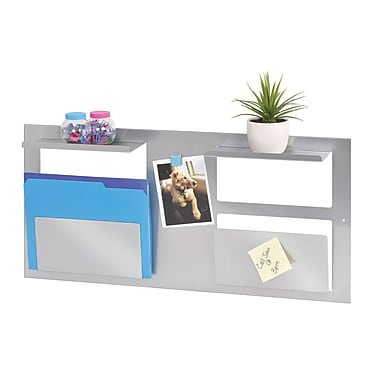 MMF Industries™ STEELMASTER® Multipurpose Wall Organizer, 2 Slots and 2 Shelves, Silver
