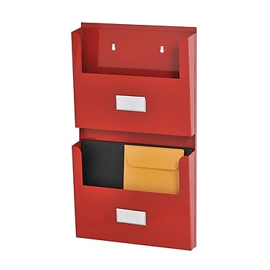 MMF Industries™ STEELMASTER® Soho Collection™ 2-Pocket Organizer With Bracket, Red