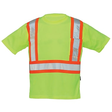 Forcefield Crew Neck Safety Tee, Lime, Large