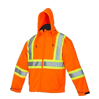 Forcefield Softshell Safety Rain Jacket, Orange, XL
