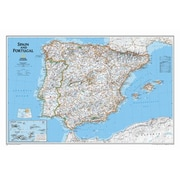 National Geographic Maps Spain & Portugal Classic Wall Map; Standard (22'' x 33'')