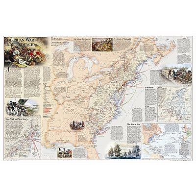 National Geographic Maps Battles of the Revolutionary War & War of 1812 Wall Map (Two Sided); Paper