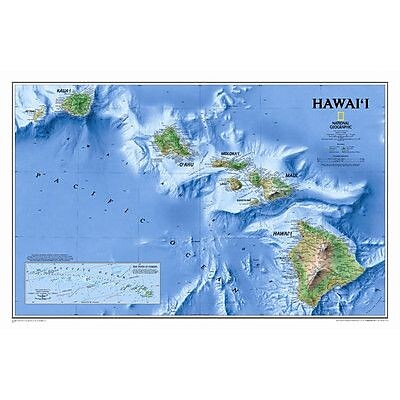 National Geographic Maps Hawaii State Wall Map