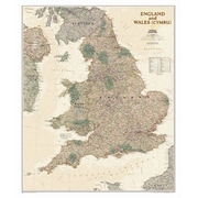 National Geographic Maps England and Wales Executive Wall Map; Laminated