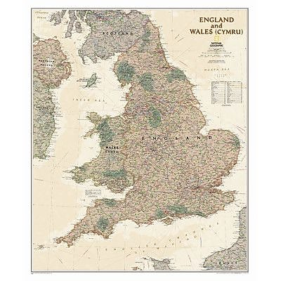 National Geographic Maps England and Wales Executive Wall Map; Paper