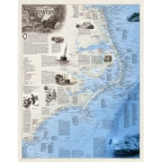 National Geographic Maps Shipwrecks of the Outer Banks Wall Map; Paper