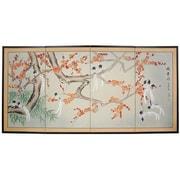 Oriental Furniture 36'' x 72'' Birds of Longevity 4 Panel Room Divider