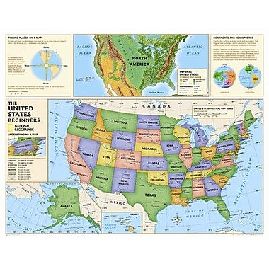National Geographic Maps Kids Beginners USA Wall Map (Grades K-3)