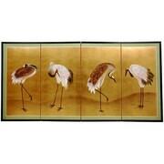 Oriental Furniture 36'' x 72'' Gold Leaf Cranes 4 Panel Room Divider
