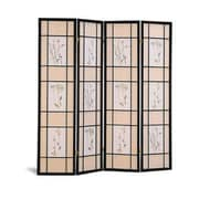 Wildon Home   70.25'' x 69'' Pateros Floral Printed Folding 4 Panel Room Divider