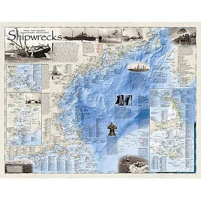 National Geographic Maps Shipwrecks of the Northeast Wall Map; Paper