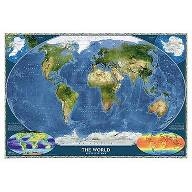 National Geographic Maps World Satellite Wall Map; Standard Size Laminated (30''H x 44''W)