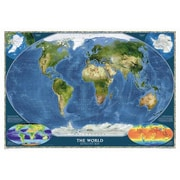 National Geographic Maps World Satellite Wall Map; Standard Size (30''H x 44''W)