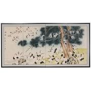 Oriental Furniture 36'' x 72'' Hundred Cranes 4 Panel Room Divider