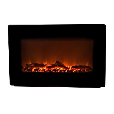 Fire Sense® 1400 W Wall Mounted Electric Fireplace, Black