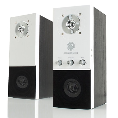 GOgroove SonaVERSE EQ Home Theater Stereo Bookshelf Speakers with Onboard Bass and Treble Controls