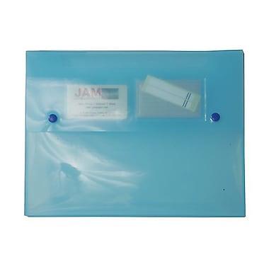 JAM Paper® Portfolio with 2 Button Snap Closure, 9.5 x 12.5 x 0.75, Blue, 4/Pack (520blueg)