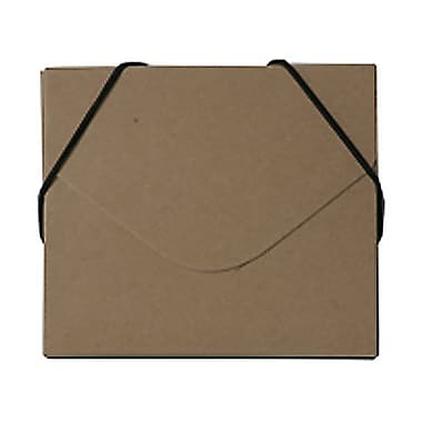 JAM Paper® CD Case Portfolio Envelopes With Elastic Closure, 5 x 5.63 x.38, Recycled Brown Kraft, 4/Pack (333545g)