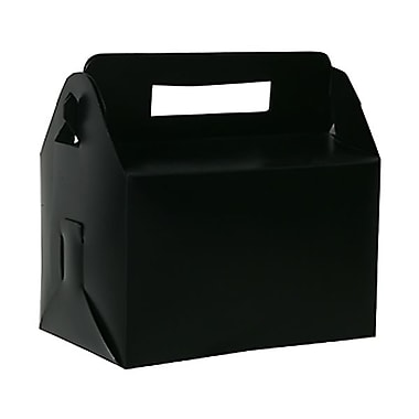 JAM Paper Plastic Lunch Box, 4.75 x 7.75 x 4.75, Black, 4/Pack (339563g)