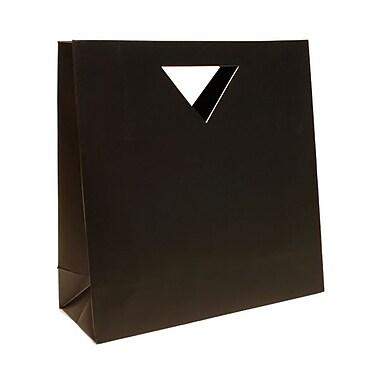 JAM Paper® Die Cut Gift Bag, Large, 15 x 5.5 x 15, Black, 12/Pack (895DCblg)