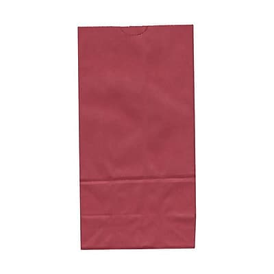 JAM Paper® Kraft Lunch Bags, Medium, 5 x 9.75 x 3, Red, 500/box (691KRREB)