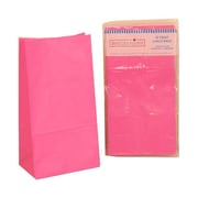 JAM PaperMD – Sacs-repas en papier Kraft, format moyen, 5 5/16 x 10 x 3 1/4 po, rose fuchsia diva, 5/pqt (14092615 g)