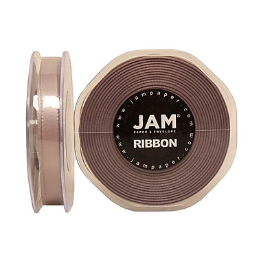 JAM Paper® Double Faced Satin Ribbon, 3/8 Inch Wide x 25 Yards, Silver, Sold Individually (803SASI25)