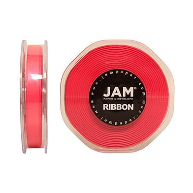 JAM Paper® Double Faced Satin Ribbon, 3/8 Inch Wide x 25 Yards, Shocking Pink, Sold Individually (803SASHPI25)