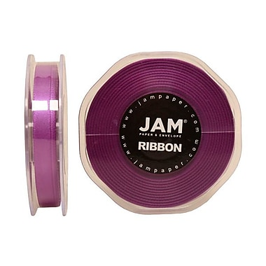 JAM Paper® Double Faced Satin Ribbon, 3/8 Inch Wide x 25 Yards, Purple, Sold Individually (803SAPU25)