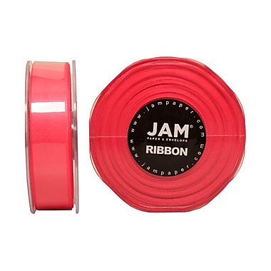JAM Paper® Double Faced Satin Ribbon, 7/8 Inch Wide x 25 Yards, Shocking Pink, Sold Individually (807SASHPI25)