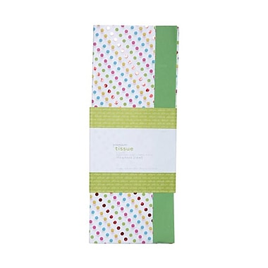 JAM Paper® Tissue Paper, Green Dots, 20/Pack (7050836393g)