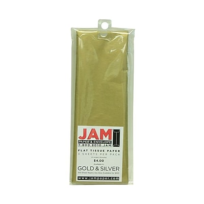 JAM Paper® Tissue Paper, Gold Flat, 3/Pack (7335485)