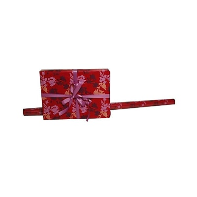 JAM Paper Gift Wrapping Paper, 15 sq. ft., Red Flowers, Sold Individually (277816979) 357745