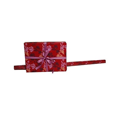 JAM Paper Gift Wrapping Paper, 15 sq. ft., Red Flowers, 5/Pack (277816979g)