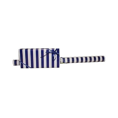 JAM Paper® Gift Wrapping Paper, Jumbo, 30 sq. ft., Blue and White Striped, 3/Pack (2226516998g)
