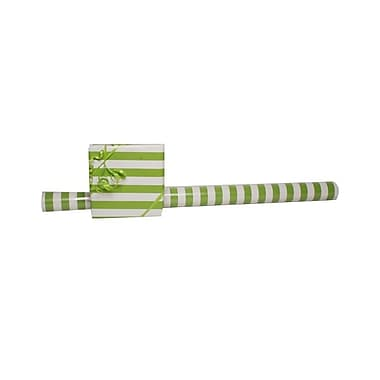 JAM Paper® Gift Wrapping Paper, Jumbo, 30 sq. ft., Lime Green and White Striped, Sold Individually (2226516999)