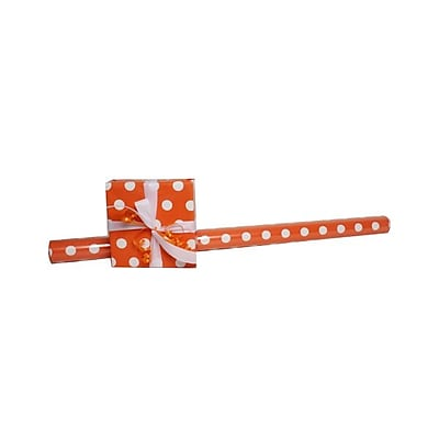 JAM Paper® Polka Dot Gift Wrapping Paper, Jumbo 40 sq. ft., Orange with White Dots, Sold Individually (2226416995)
