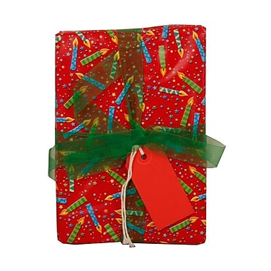 JAM Paper® Gift Wrapping Paper, 15 sq. ft., Red Birthday Candies, 5/Pack (2226216984g)