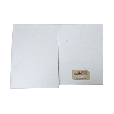 JAM Paper® Two Pocket Handmade Presentation Folders, White with Gold Thread, 100/pack (9935981B100)