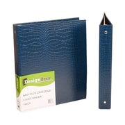 JAM Paper® Premium Crocodile Textured 3 Ring Binders, 1 Inch, Navy Blue, Sold Individually (751NA)