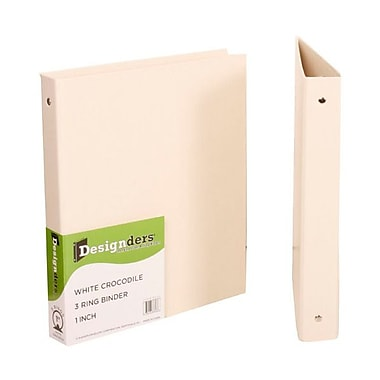 JAM Paper® Premium Crocodile Textured 3 Ring Binders, 1 Inch, Cream, Sold Individually (751CWH)