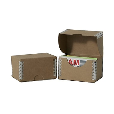 JAM Paper® Kraft Ecoboard Business Card Box, Brown Recycled Kraft with Metal Edge, 5/Pack (9064 201g)