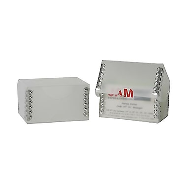 JAM Paper® Plastic Business Card Box, Clear Frost with Metal Edge, 100/Pack (9064CLC)