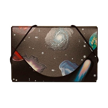 JAM Paper® Plastic Business Card Case, Colourful Space Planets, 5/Pack (236618973g)