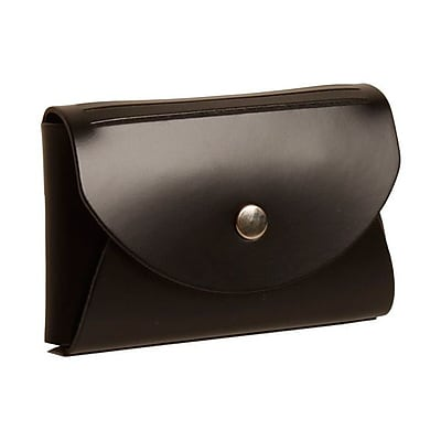 JAM Paper® Leather Business Card Case, Round Flap, Black, 100/pack (2233317456B)