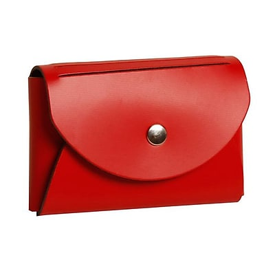 JAM Paper® Leather Business Card Case, Round Flap, Red, 100/pack (2233317457B)