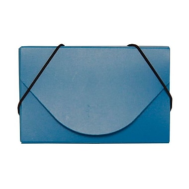 Jam Paper® Plastic Solid Business Card Case With Round Flap, Blue