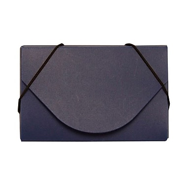Jam Paper® Plastic Solid Business Card Case With Round Flap, Navy Blue
