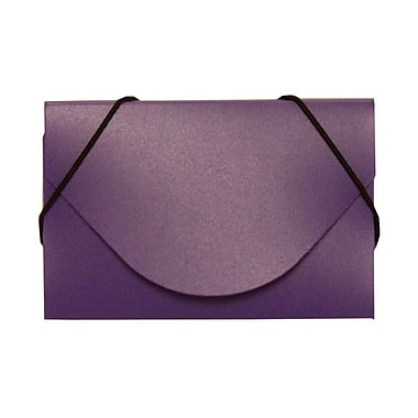 Jam Paper® Plastic Solid Business Card Case With Round Flap, Purple