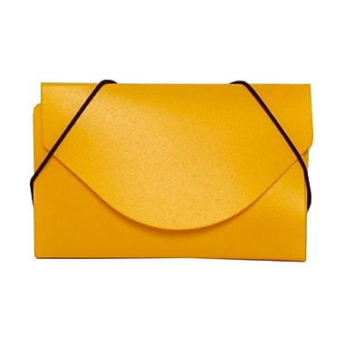Jam Paper® Plastic Solid Business Card Case With Round Flap, Yellow
